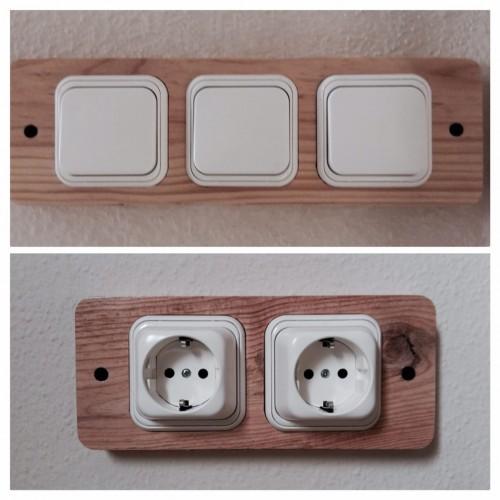 Embellecedores de interruptores y enchufes en madera